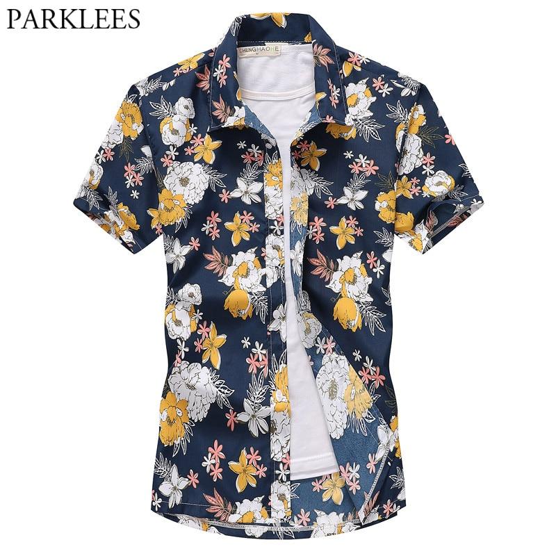 Summe Beach Hawaiana camisa Floal hombres 2019 nueva manga corta Tropical flor camisetas Aloha Mens vacaciones Camisas Hawaiana