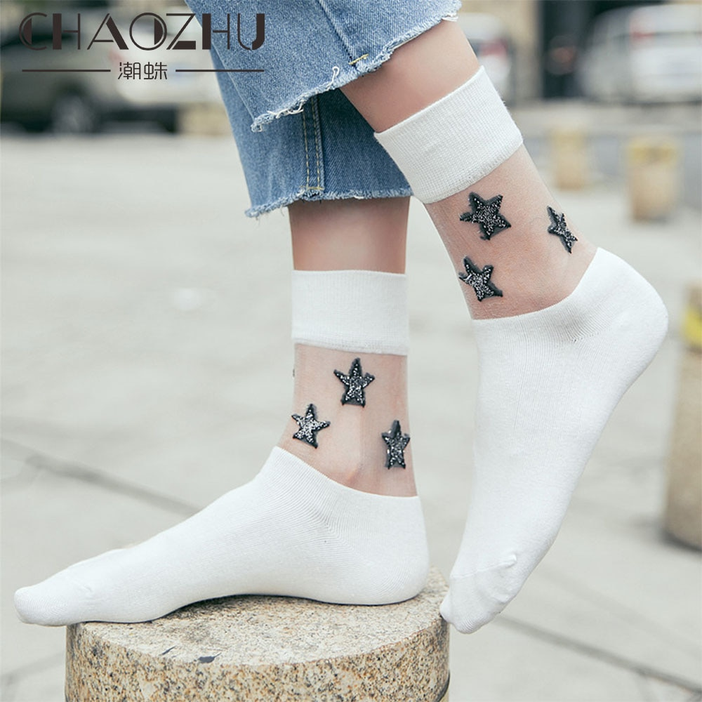 CHAOZHU 2018 Summer New Transparent Cotton Sole Crystal Socks With Shinning Silver Stars Black White Sheer Lady Fashion Sokken