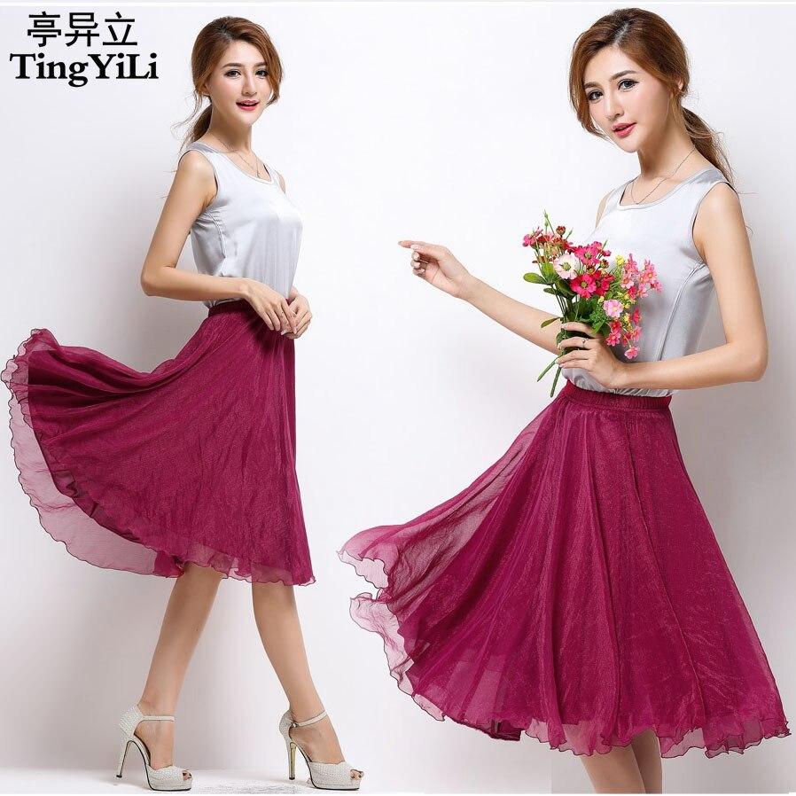 Tingyili cintura elástica alta plissado uma linha midi saia adulto tule saias das mulheres estilo verão preto branco rosa vermelho cinza roxo