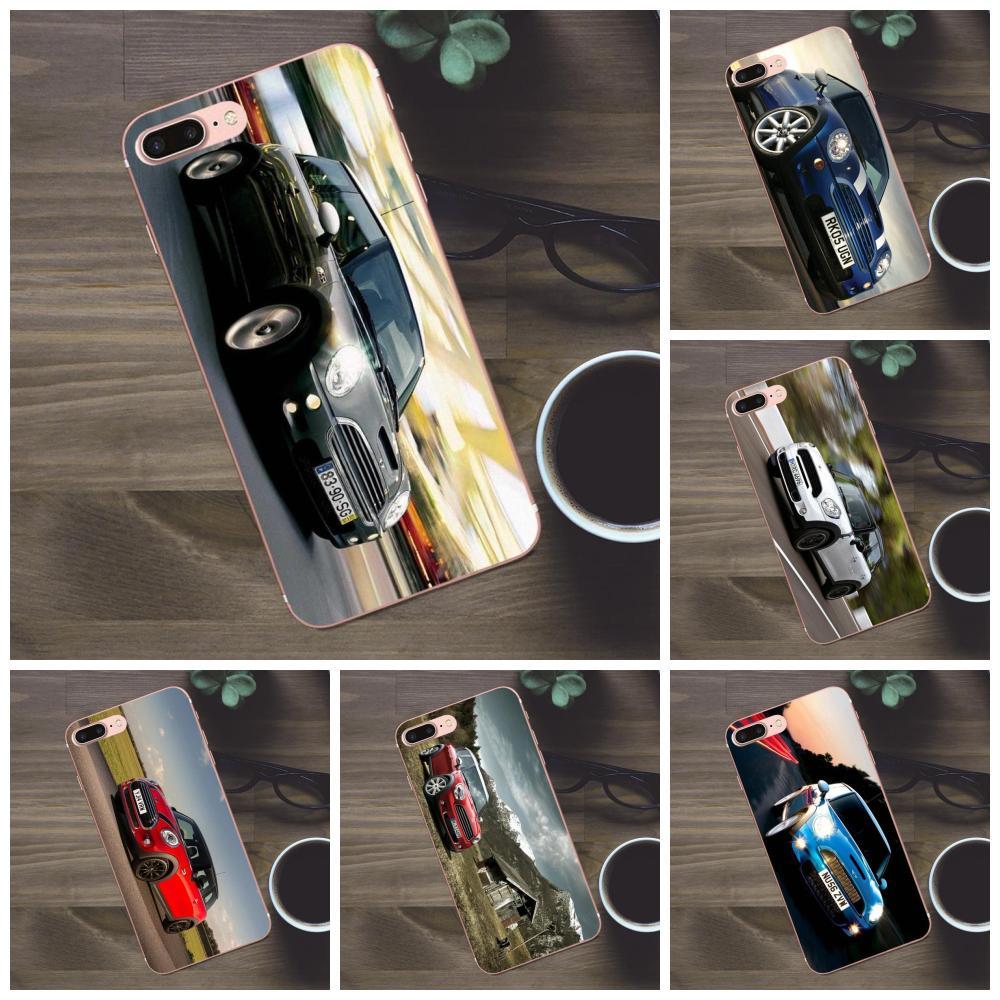 Cáscara única transparente TPU para iPhone X de Apple 4 4S 5 5C SE 6 6S 7 8 Plus Galaxy A3 A5 J1 J2 J3 J5 J7 2017 coche Mini Cooper