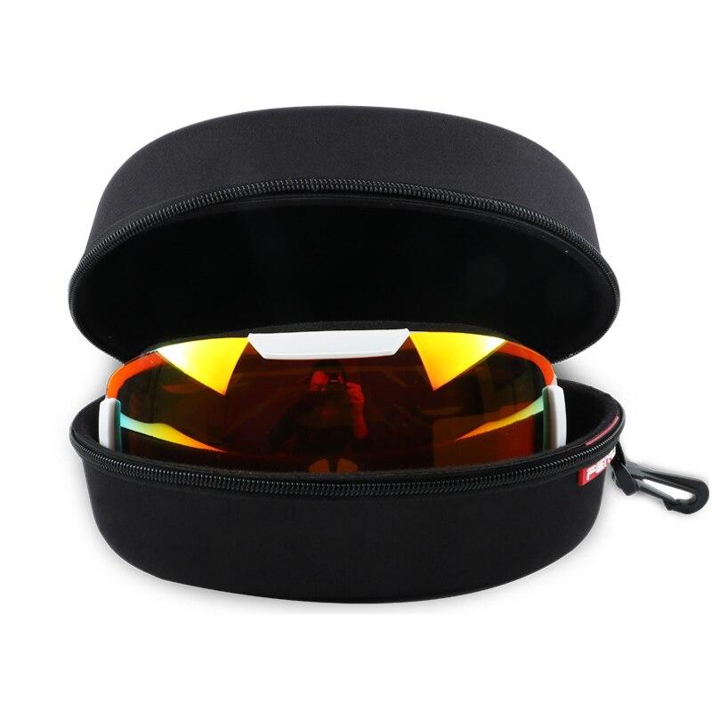 Impermeable portátil EVA Protector de gafas de esquí estuche gafas de sol bolsa de transporte con cremallera Hard Box Holder con hebilla gancho negro