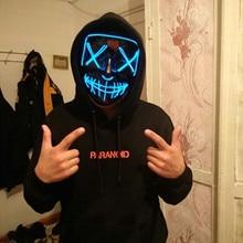 Cadılar bayramı Dekorasyon LED Maskesi Light Up Parti Neon Maskesi Cosplay Korku V Vendetta Cadılar Bayramı Partisi Dekor Sahne Aksesuarları