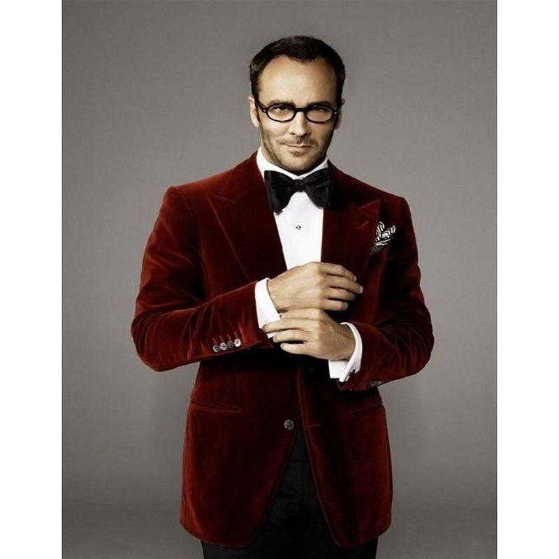 2017 Hot Sale Velvet Groomsmen Peak Lapel Groom Tuxedos men suit Wine red Jacket Formal Blazers 2 Pieces (Jacket+Pants+Bow Tie)