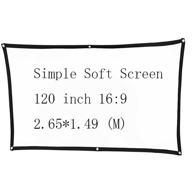Pantalla de proyector portátil suave Simple Thinyou de 120 pulgadas 169, soporte plegable de pared para exteriores, proyector LED Home theate