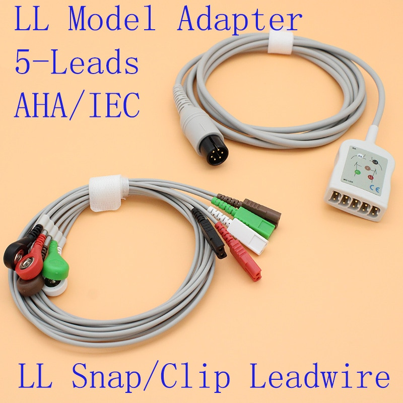 6P to LL yoke 5 leads ECG EKG trunk cable and leadwire for BCI//Mindray/Sapcelabs/Edan/Goldway/GE/Nellcor/CSI/HP/Biolight.