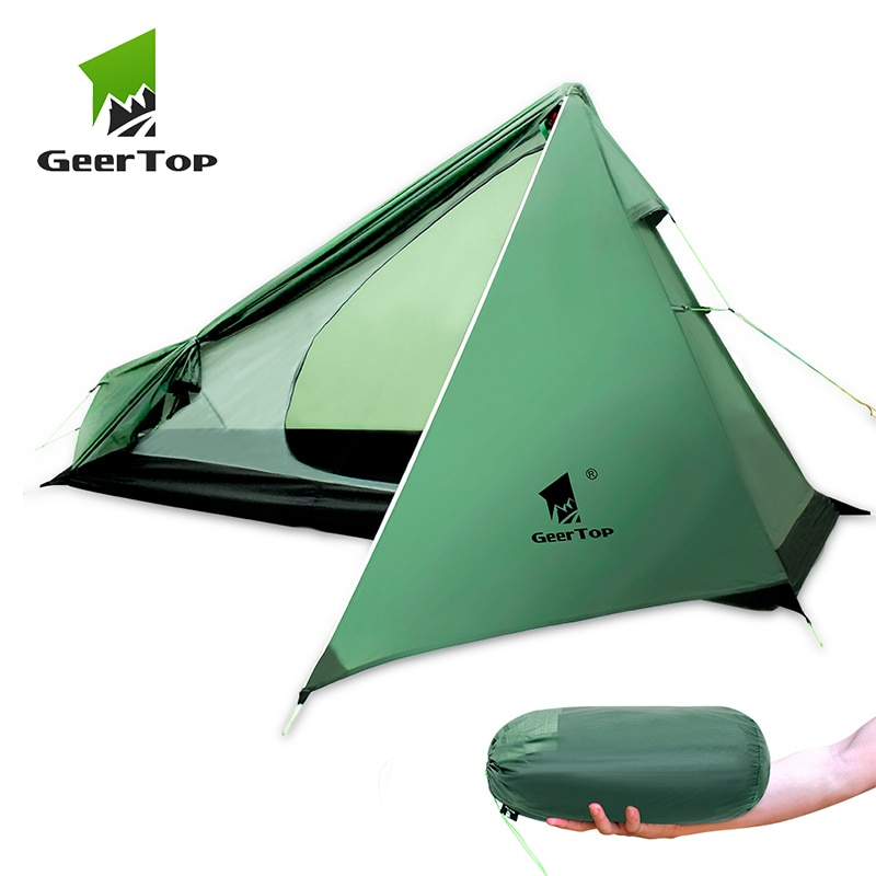 GeerTop-خيمة تخييم خفيفة للغاية لشخص واحد ، 3 مواسم ، مقاومة للماء ، 950 جرام ، أعمدة الرحلات ، للتنزه في الهواء الطلق ، السياحية
