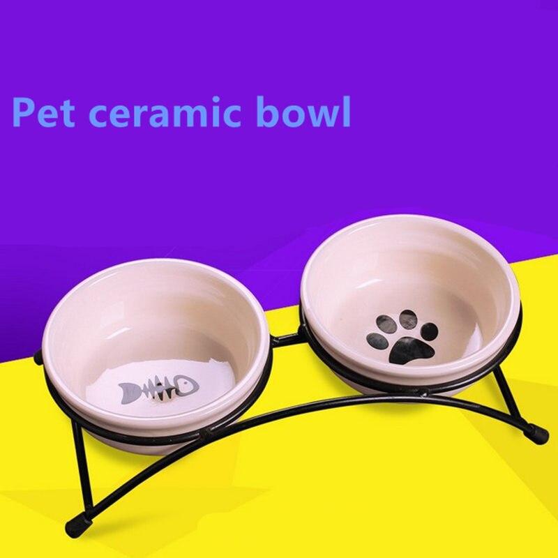 Novo duplo cerâmica de aço inoxidável pet tigelas para cachorro gato filhote de cachorro antiderrapante comida água dupla-uso alimentação prato suprimentos alimentador para animais de estimação