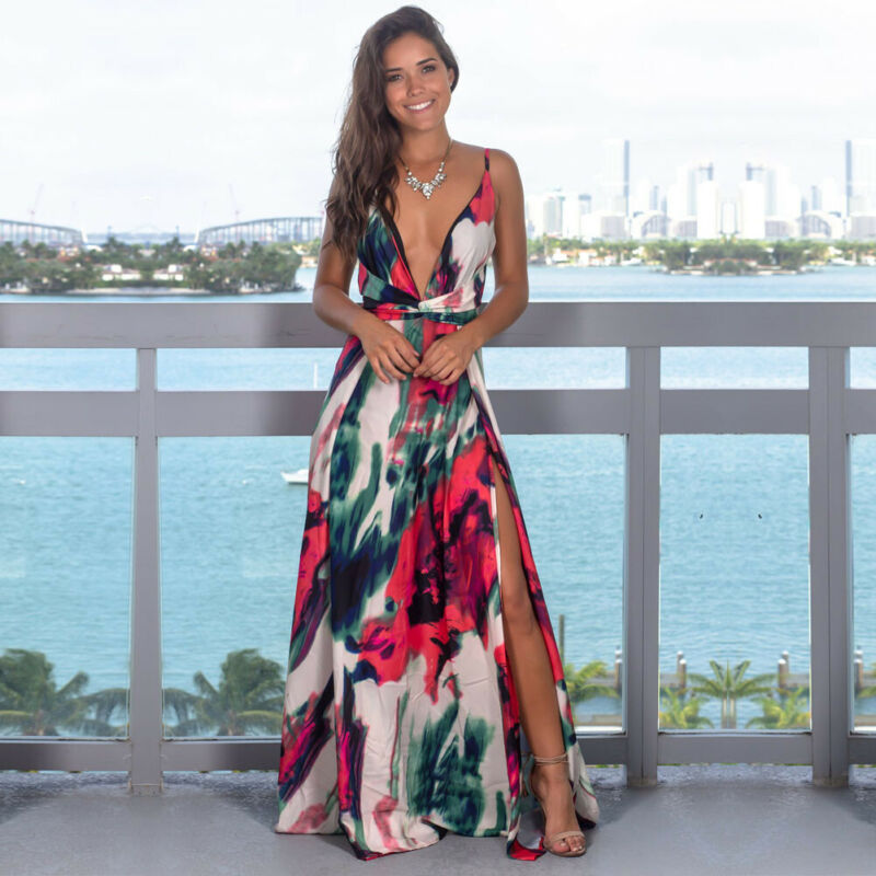 Women's Sling Floral Long Dresses arrival Summer Boho V-Neck Sleeveless Party Beach Floarl Print Max