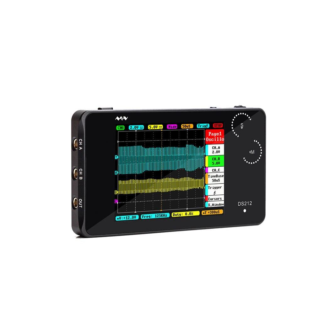 DS212 LCD Digital portátil Mini Almacenamiento de mano oscilógrafo multímetro pantalla táctil USB Frecuencia de señal medida