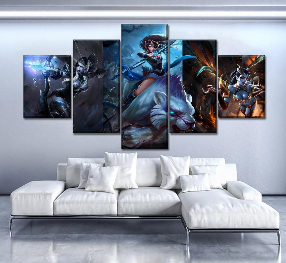 עיצוב הבית קיר יצירות אמנות ציורי בד 5 חתיכות DotA 2 משחק תמונות Hd הדפסי מודרני פוסטר עבור שינה מודולרי ממוסגר