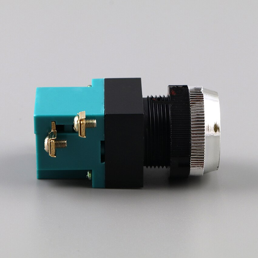 LA19-11 ABS, interruptor de auto-pulsador de reinicio, 25mm, 380V, 5A, cabeza plana de inicio redonda, 1 Abrir 1 interruptor de cierre para barco, herramienta de máquina