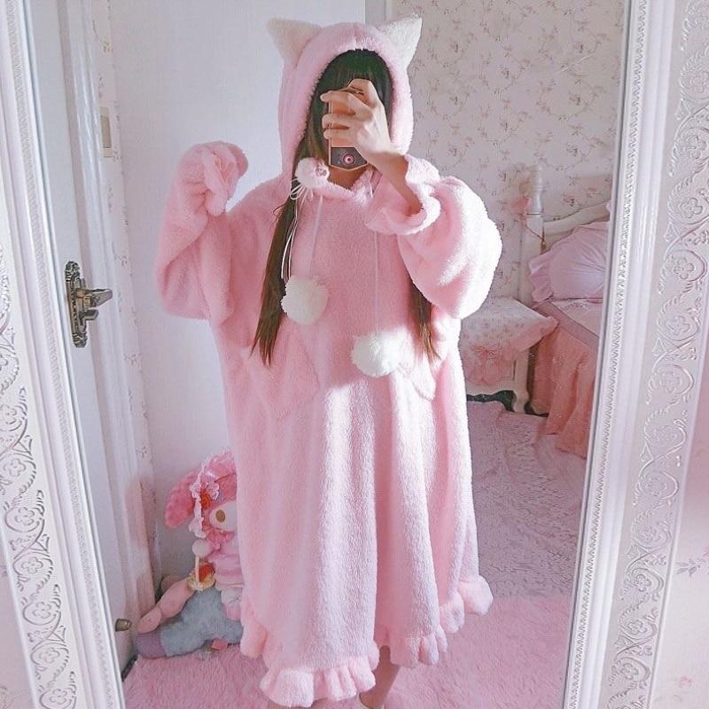 Autumn Women's Korean Fleece Clothes Cute Cat Ears Long Pajamas Night Dress Winter Japan Lolita Style Kawaii Ruffles Home Dress
