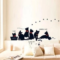 vinyl wall stickers wallpaper animal cartoon black cat family living room sofa wall decals house decoration poster home decor