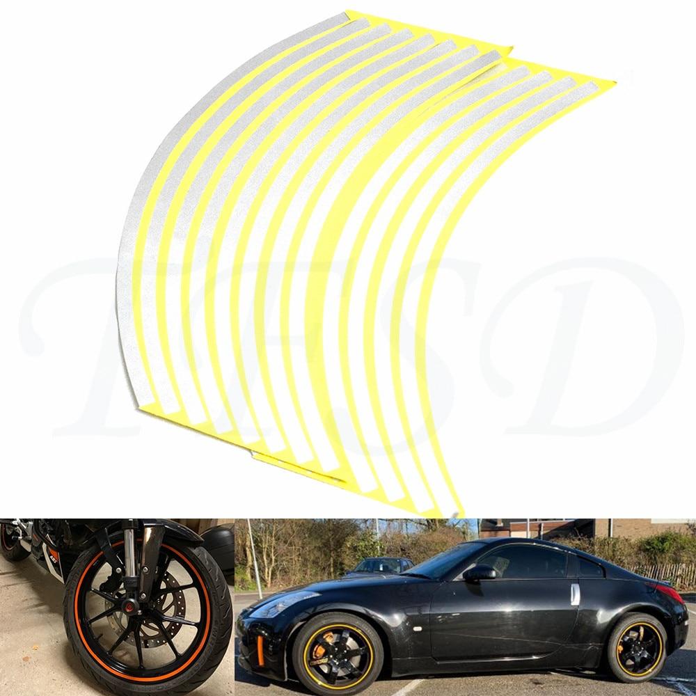 "Pegatinas para llanta de coche motocicleta 17 ""-19"" cubiertas reflectantes para coche cinta pegatina para neumático decoraciones para YAMAHA TMAX 500 TMAX500"