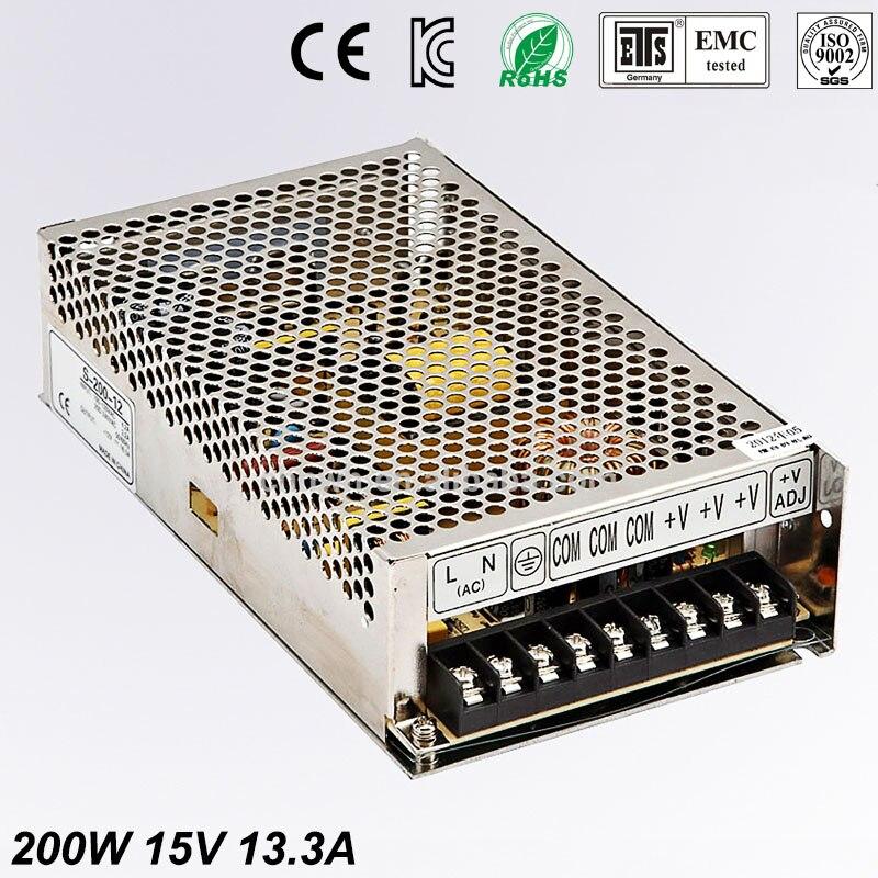 Universal15V13.3A 200 Вт Регулируемый импульсный источник питания Transformer100 240V переменного