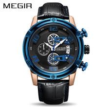 MEGIR chronographe Sport Montre hommes bracelet en cuir créatif Quartz montres horloge hommes militaire Montre-bracelet Reloj Hombre Montre Homme