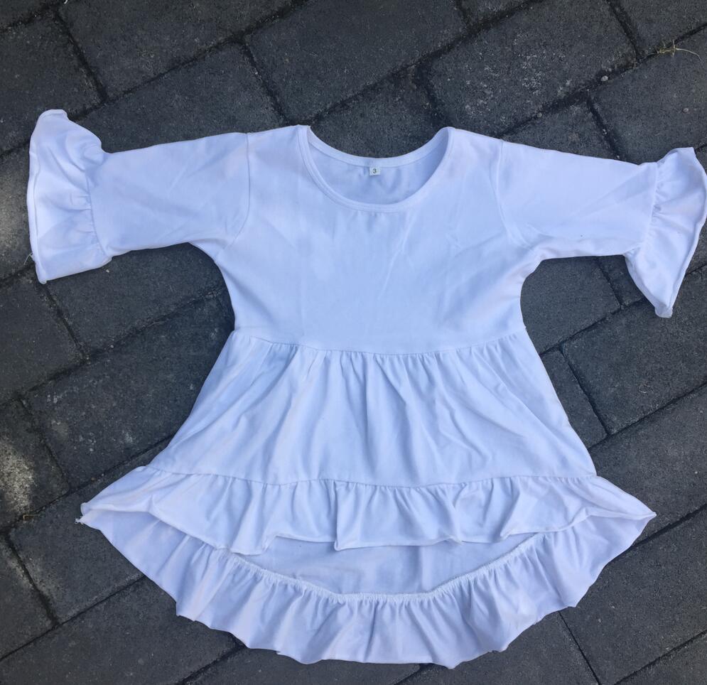 2017 Girls Blank Flutter top Baby Cotton Children boutique bulk lovely cloth long sleeve High Low Top Children Frocks tunic top