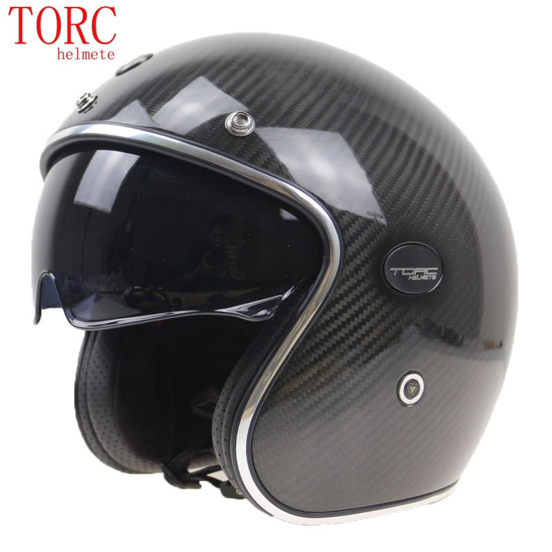 TORC أجزاء دراجات من ألياف الكربون خوذة المهنية خفيفة الوزن مفتوحة الوجه خوذة مع النظارات الشمسية الداخلية helmet 3/4 الكلاسيكية