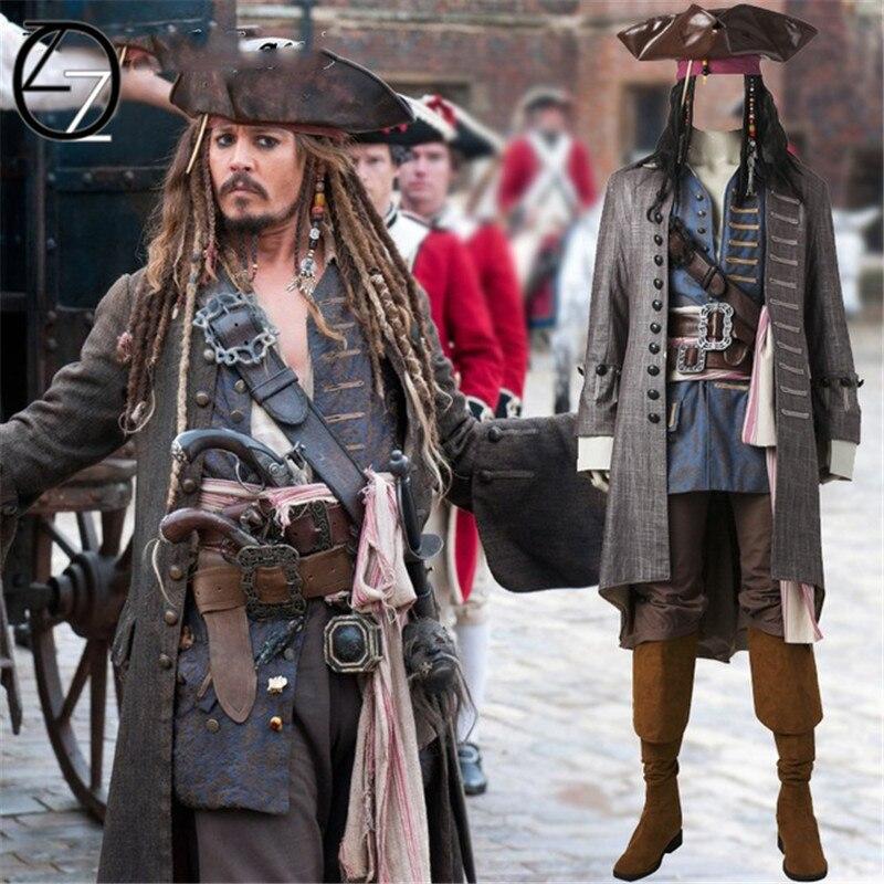 Disfraz de Cosplay de Piratas del Caribe, capitán Jack Sparrow, disfraz de Halloween para adultos y hombres, disfraz de Sparrow, trajes personalizados