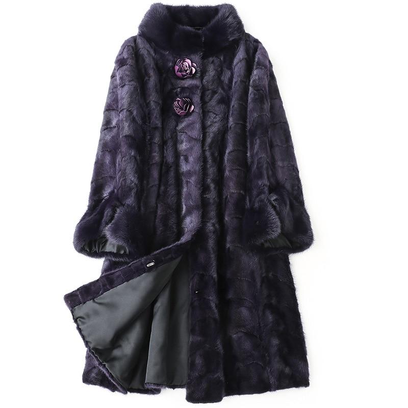 Роскошная Шуба из натурального меха норки, зимняя теплая шуба, женская меховая верхняя одежда LF9021