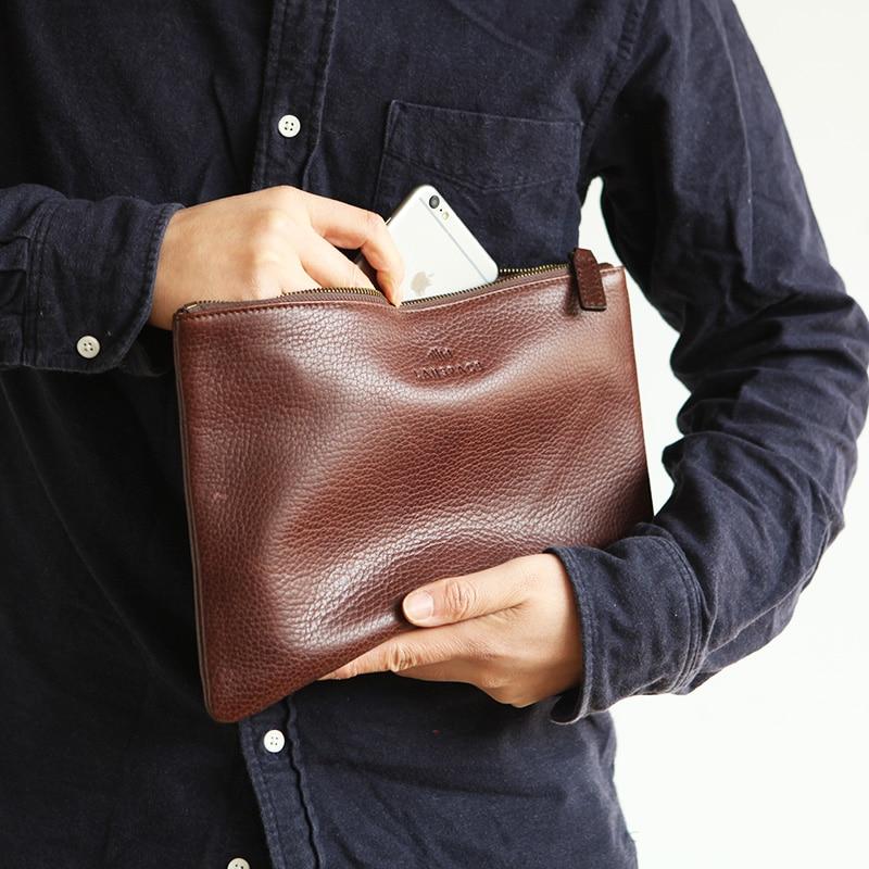 Bolso de cuero para hombre LANSPACE, monederos de marca, bolsos de moda para ipad