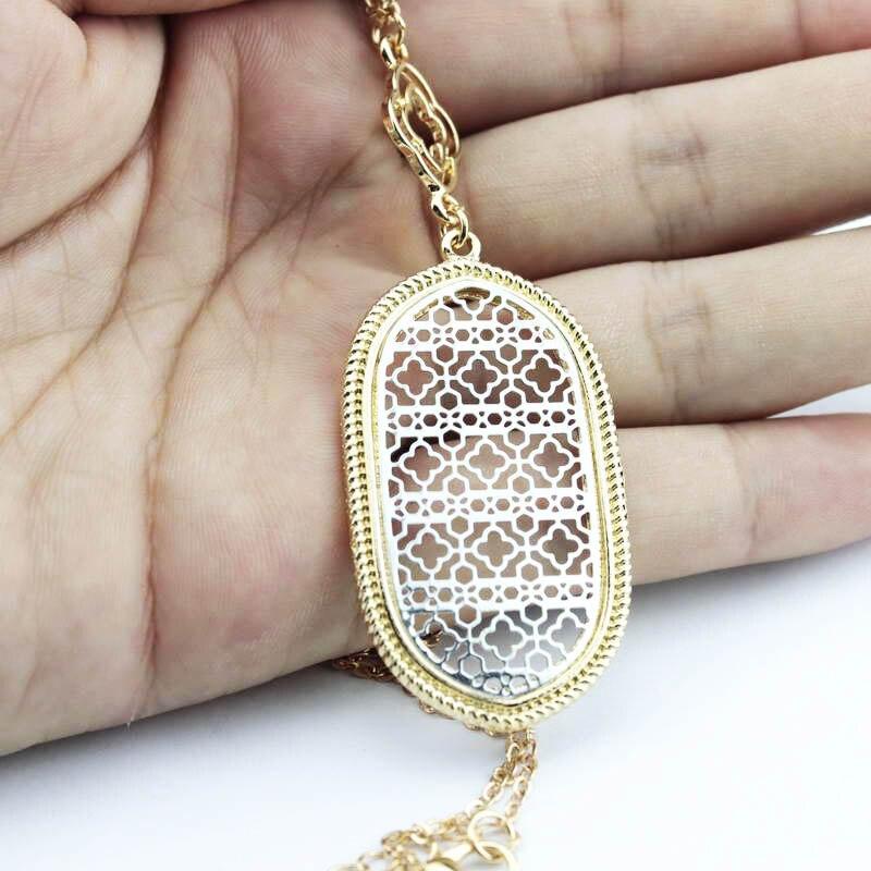 2020 mode Design coupé or filigrane quatreleaf déclaration longue chaîne découpe trèfle pendentif colliers pour femmes bijoux