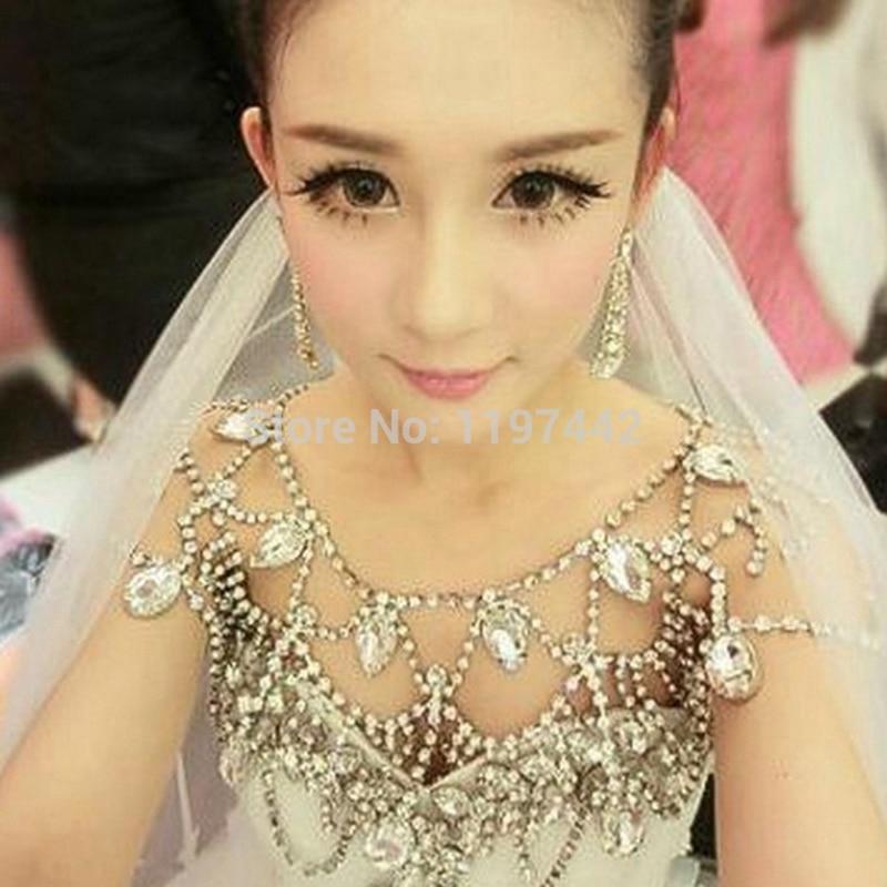 Дизайнерское винтажное ожерелье с цепочкой на плечо для невесты, ожерелье со стразами, аксессуары для свадьбы, украшения