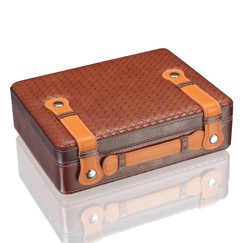 LUXFO Spanish Cedar Wood Travel Cigar Humidor with Hygrometer Humidifier for Cohiba Cigars enlarge