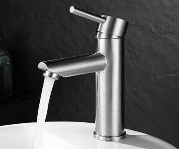 حنفية حوض الحمام من الفولاذ المقاوم للصدأ 304 ، بمقبض واحد ، خلاط مياه ساخنة وباردة ، 312