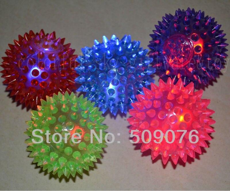 Free shipping 288pcs/lot 5.5cm rubber led bouncy ball Light-Up Spiky Stress Balls Sensory LED Flashing Massage Bumpy Toys