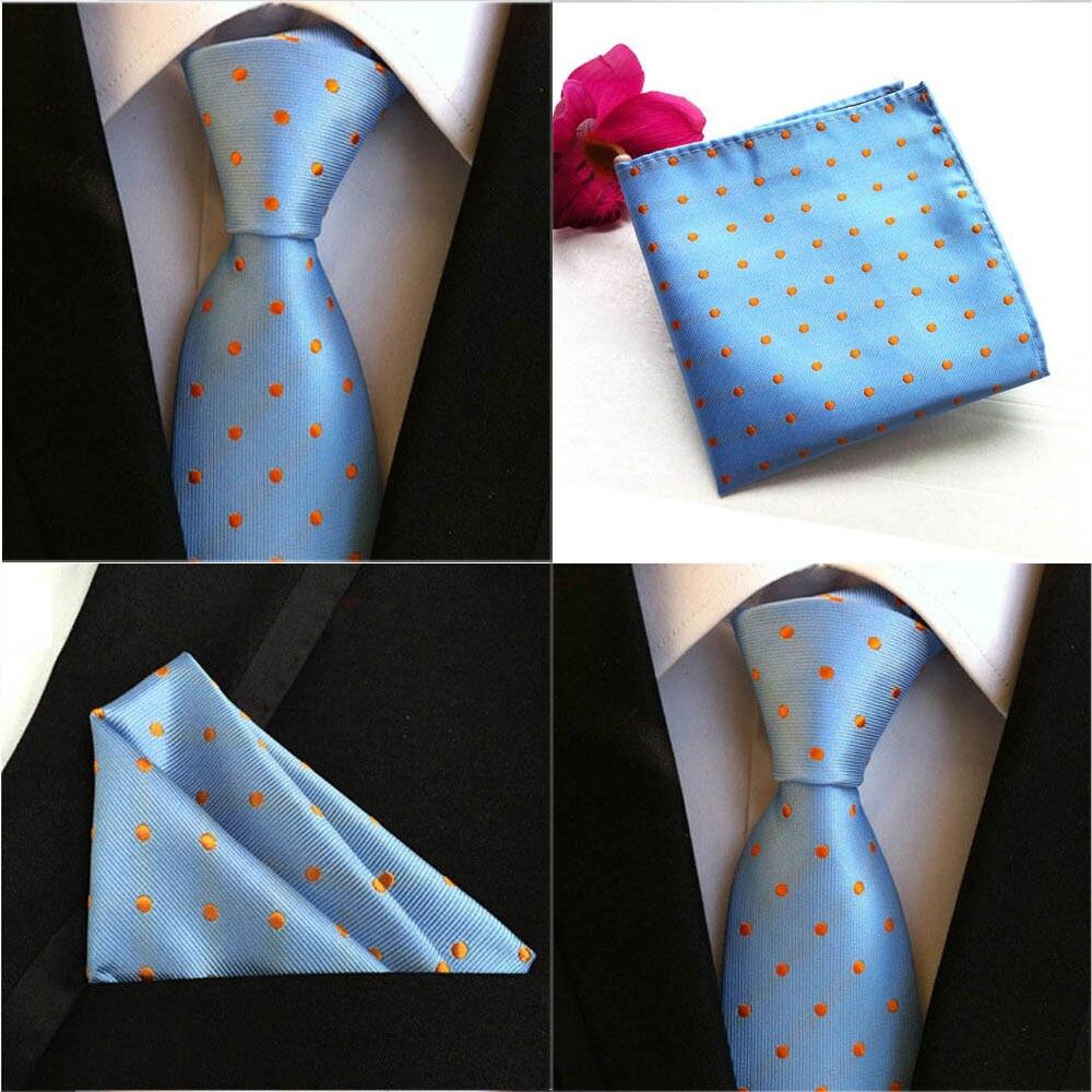 Lote de pañuelos cuadrados HZTIE0073 con bolsillo y corbata de seda azul o naranja para hombre