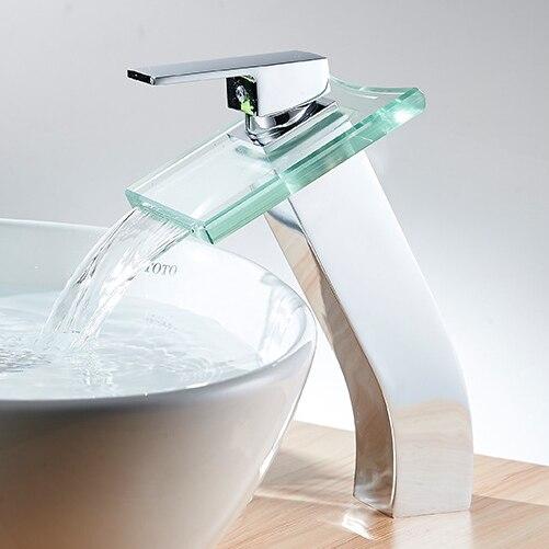 حنفية حوض الحمام من النحاس الصلب ، حنفية الشلال ، زجاج مصقول مطلي بالكروم ، جودة ممتازة 1188C