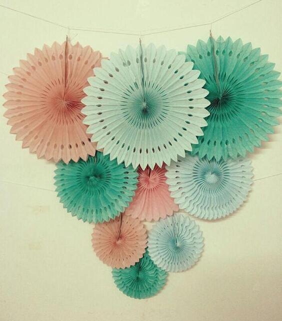 Decoración de artesanías de papel de boda 20/30/40CM 9 Uds abanico de papel de Origami de flores DIY decoraciones suministros (verde menta azul rosa)