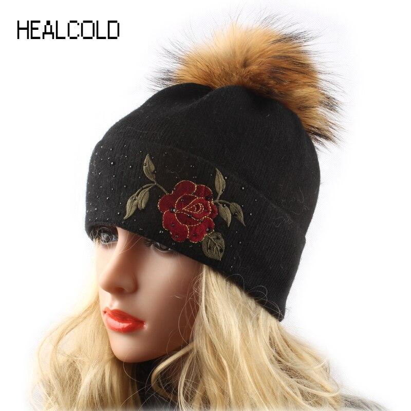 Зимняя шерстяная вязаная шапка бини для женщин, норковая меховая шапка с помпоном, Дамская шапка с помпоном, шапка с вышитыми розами