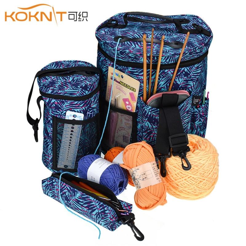 KOKNIT Knitting Bag Portable Yarn Tote Storage Bag for Wool Crochet Hooks Knitting Needles DIY Household Organizer Travel Bag