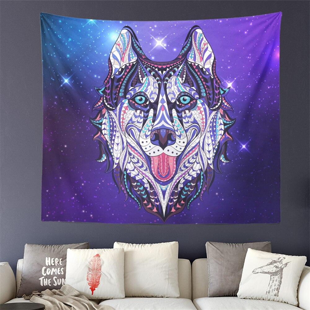 Animal Husky perro impresión tapiz Boho colorido colgante de pared púrpura galaxia fino suave manta pared alfombra decoración del hogar D40