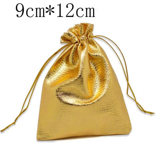 Nuevos suministros de decoración para fiesta de bienvenida de bebé por tiempo limitado, bolsas de tela para regalos plateadas 100 de satén con cordón de 12x9cm (w01812x1)