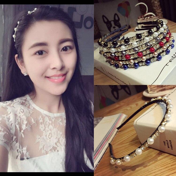 Corea llenos de perlas, diademas de diamantes hechas a mano de alta calidad, accesorios para el cabello para lazos para chicas, diademas coloridas para mujeres