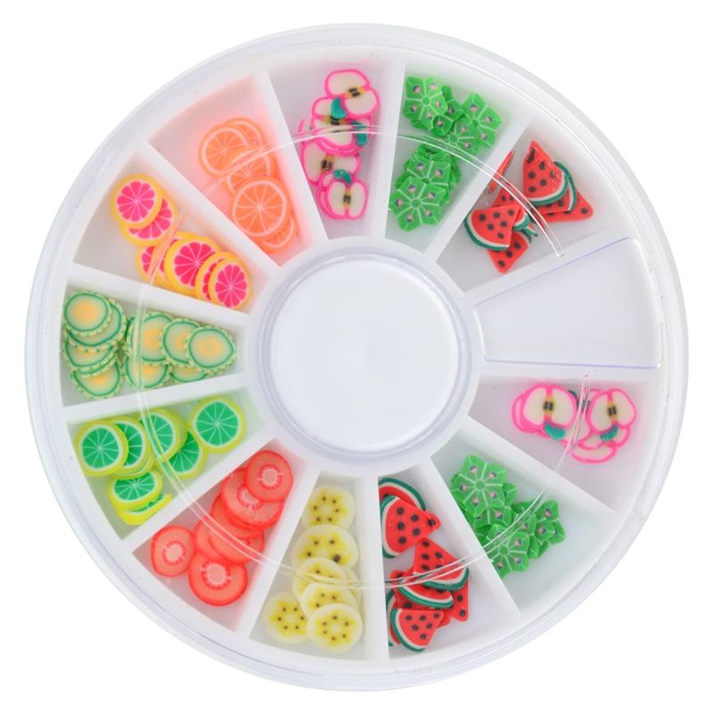 12 различных видов 3D фруктов и цветов, трость, полимерная глина для дизайна ногтей, украшения в рулонах, штамп, Переводные наконечники, милый принтер, сделай сам