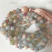 Original Design Valuable Natural Blue Stone Morganite Beads 108 Mala Hand Knotted Yoga Meditation Necklace or Bracelet for Women
