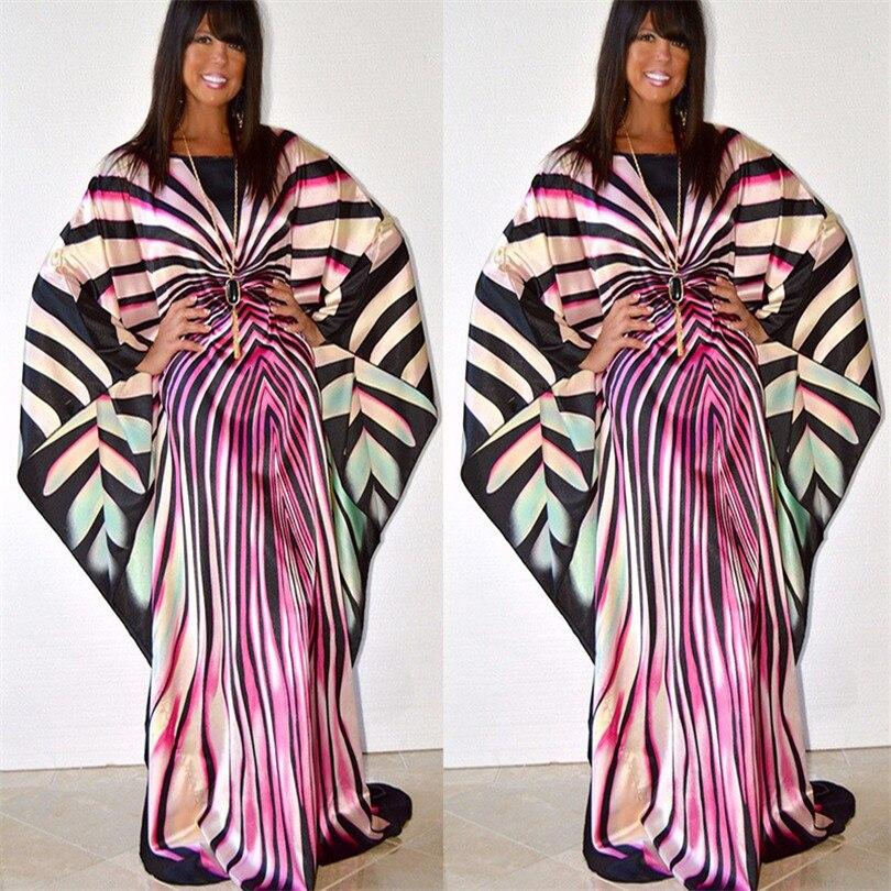 Vestido de mujer Riche africano estampado patrón manga larga moda sudamericana rayas de cebra bat Sleeve Dress
