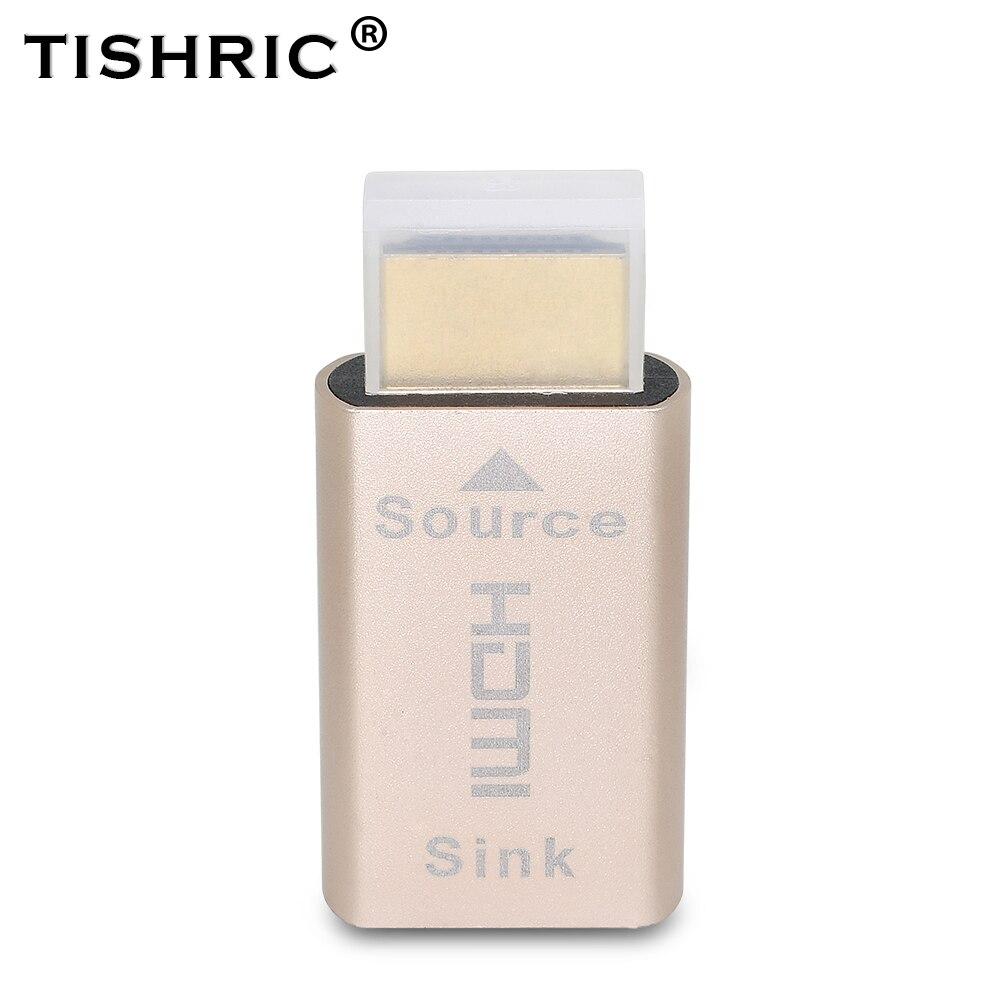 Tishric 10 pçs 2 em 1 vga hdmi manequim plug adaptador de exibição virtual 4 k sem cabeça fantasma display emulador ddc edid para placa de vídeo bloqueio