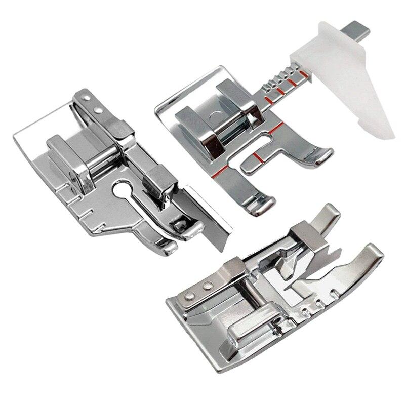 Prensatelas para máquina de coser, juego de prensatelas para acolchar de 1/4 pulgadas, prensatelas de guía ajustables para coser, puntada de unión de borde en la zanja S