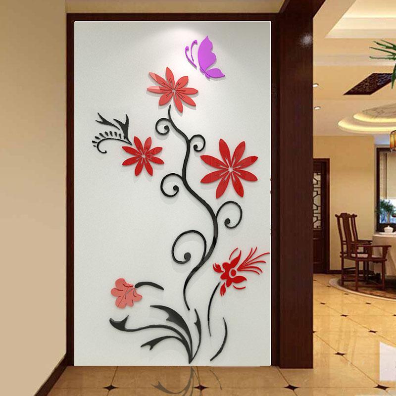 Acrylic three-dimensional butterfly flower rattan wall stickers Entranceway restaurant sofa tv wall stickers
