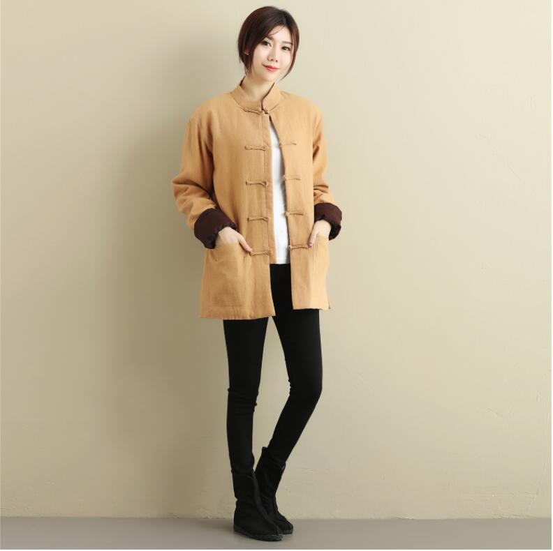 Unisex Chinese Cashmere double breasted coat folk style short pure Linen Outer layer cotton linen overcoat outwear casual outfit