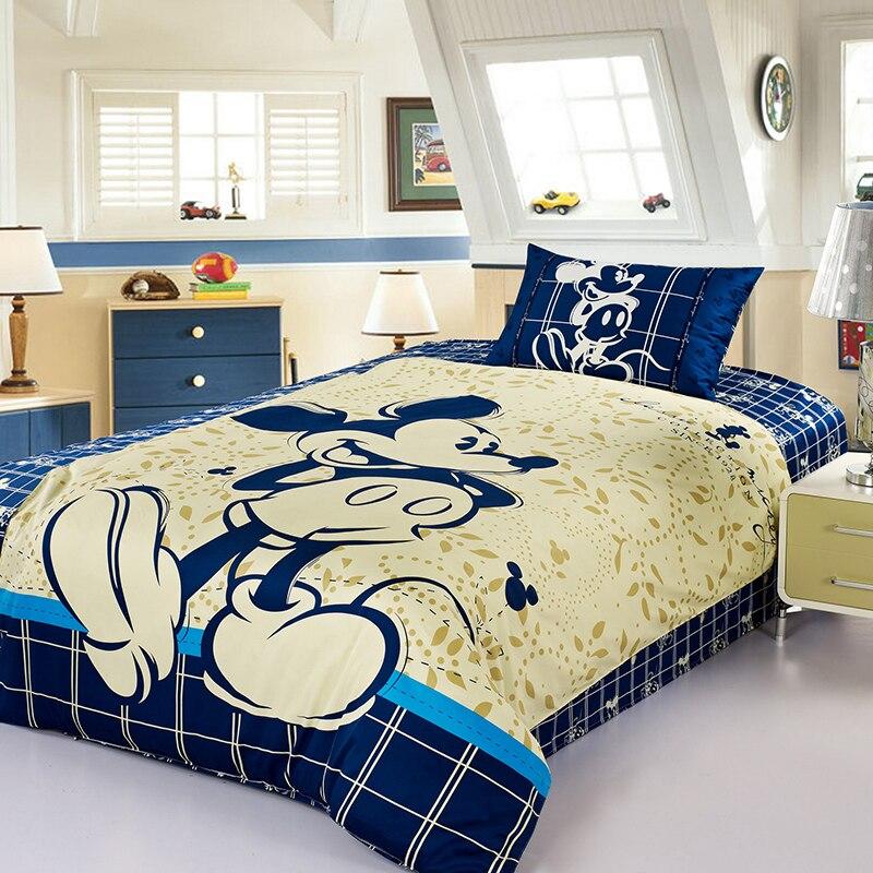 Комплект постельного белья из 100% хлопка с рисунком Диснея Микки Мауса, пододеяльник с синим простынем, детские постельные принадлежности о...