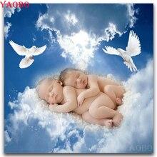 Peinture 3D diamant carrée ange bébé   Peinture décorative, strass, broderie diamant ronde, mosaïque complète, broderie artistique