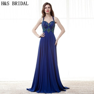 H&S BRIDAL Royal Blue Crystal Beaded Evening Dress Sweetheart Chiffon Sexy Backless formal evening gown Draped Prom Dresses 2017