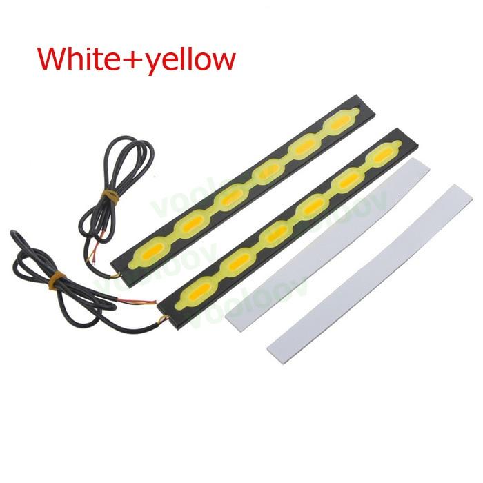 Promoción, luz de circulación diurna para coche con cable COB LED de 7,5 W, luz blanca fría + amarilla de 300LM