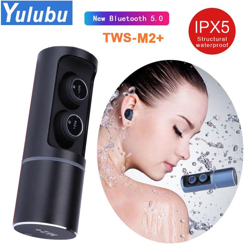 Auriculares inalámbricos YULUBU M2 + TWS V5.0 Bluetooth auriculares estéreo de graves profundos 3D sonido a prueba de sudor auriculares deportivos